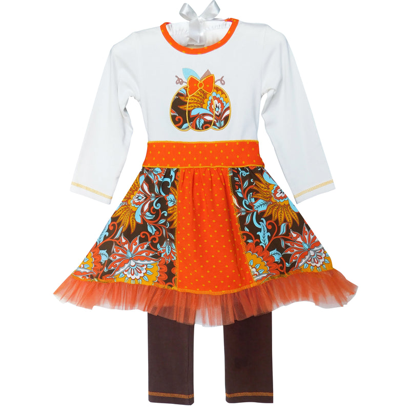 AnnLoren - Girls Thanksgiving Autumn Pumpkin Dress Set
