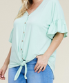 PLUS Ruffle Button Top