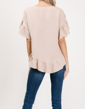 Round neck ruffle sleeve top