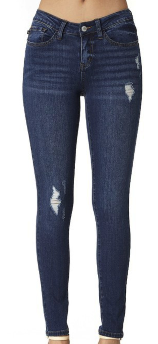 Dark Blue minimal Distressed Denim