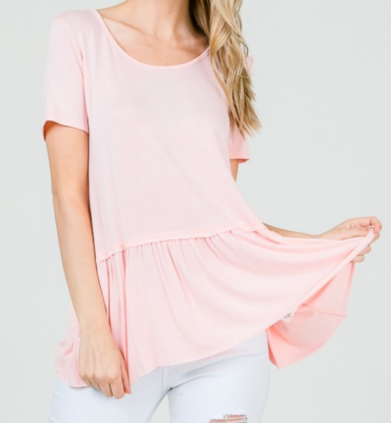Round Neck Peplum Top With Back Patch
