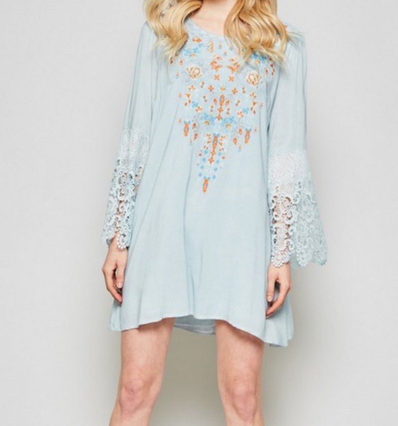 MINERAL WASHED EMBROIDERY DRESS