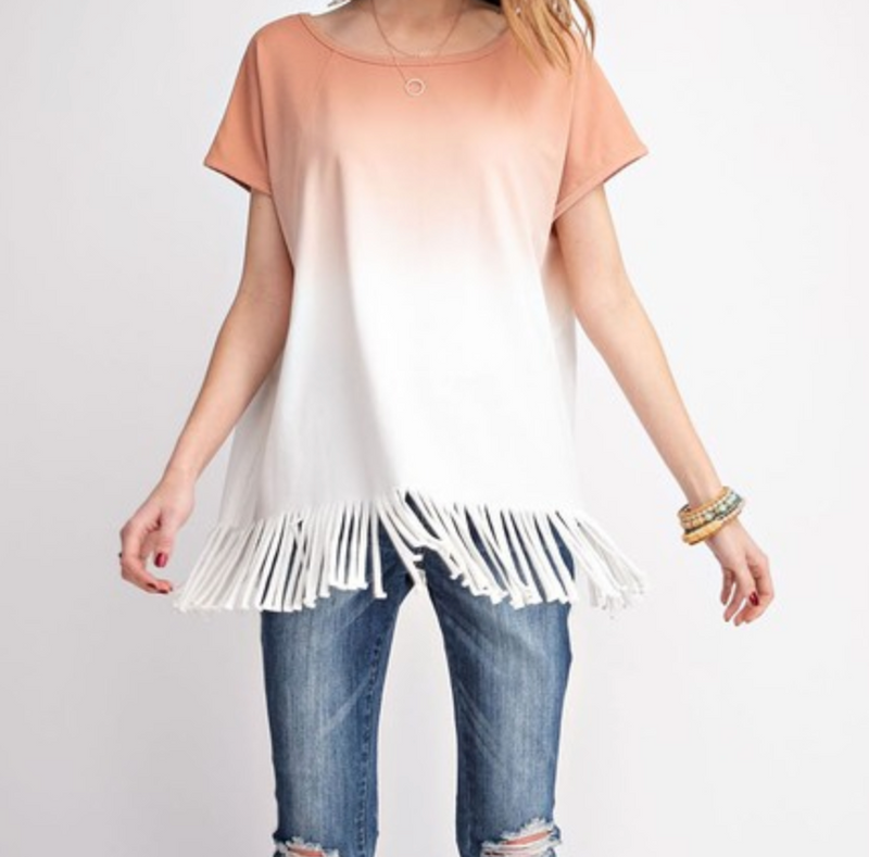 OMBRE DYE FRINGE KNIT TUNIC TOP