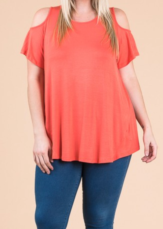 Cold Shoulder round neck swing top