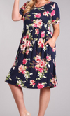 PLUS KNIT FLORAL DRESS