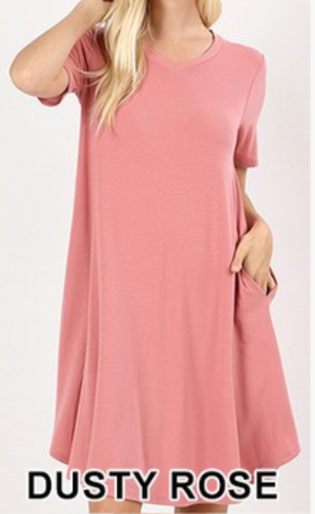 V-NECK POCKET ROUND HEM A-LINE DRESS