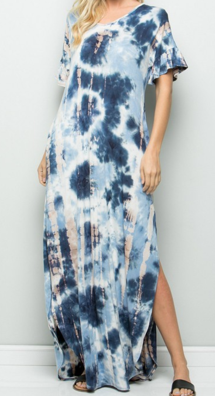 Tie Dye maxi dress with pocket