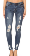 MIDRISE MEDIUM WASH DISTRESSED SKINNY