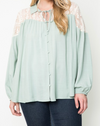 Plus Size Lace Collared Tunic Blouse