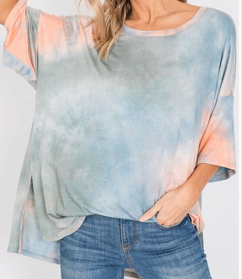 Tie dye oversized round neck top