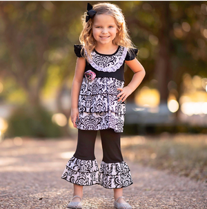 Girls Black & White Damask Rumba Tunic & Capri Clothing Set