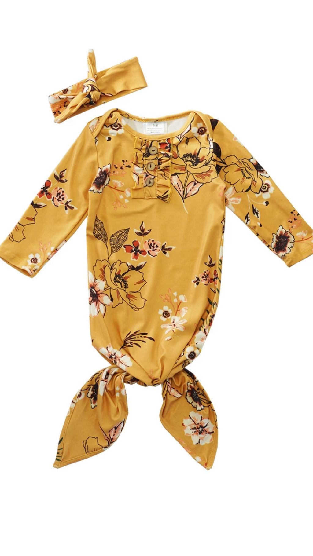 Mustard floral baby gown with matching head band