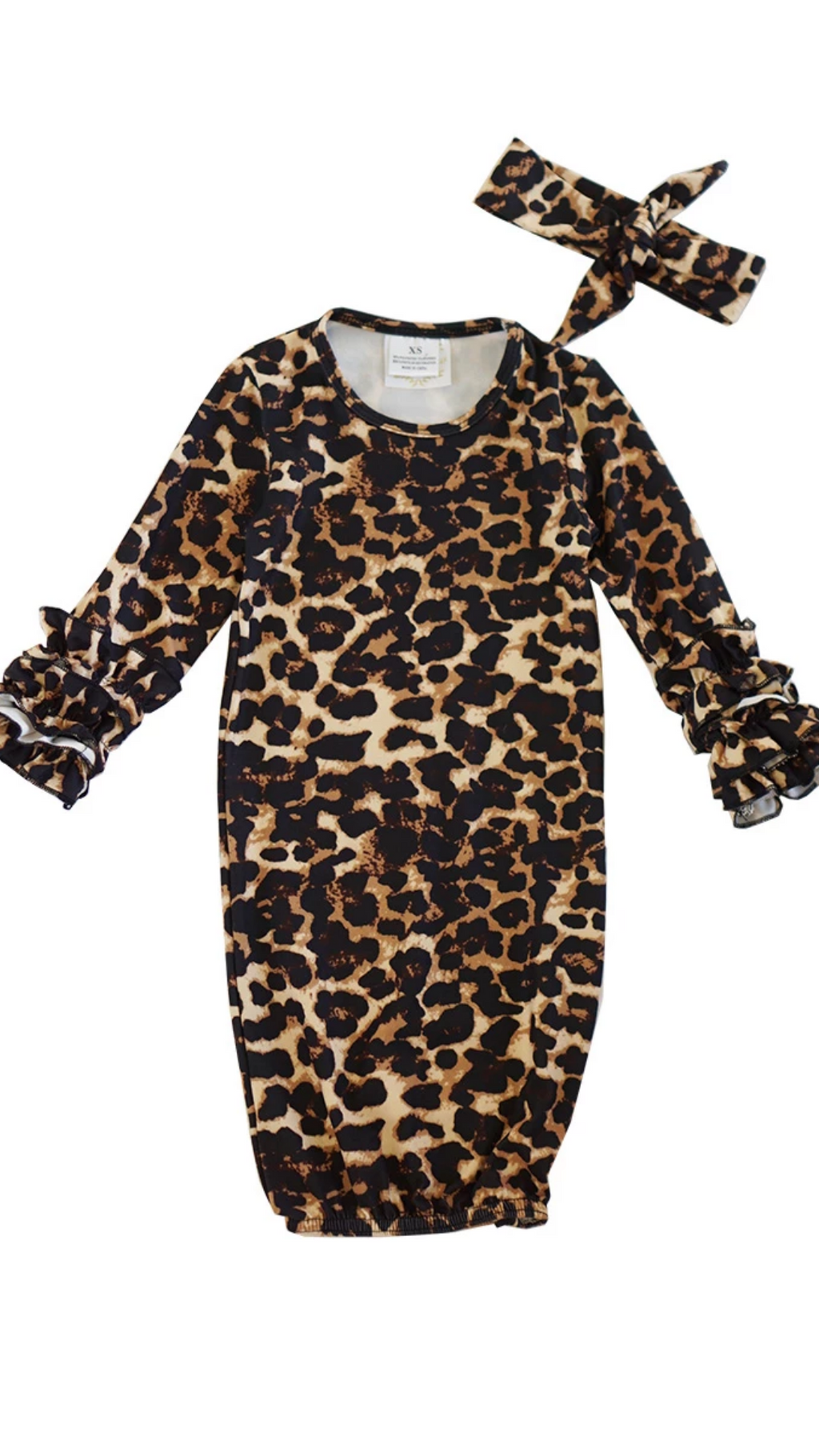 Leopard print baby gown with matching head band