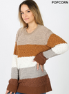POPCORN COLOR BLOCK PULLOVER