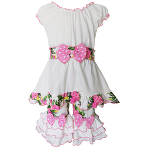 AnnLoren - Girls Boutique Spring Shabby Floral Tunic and Capri Set