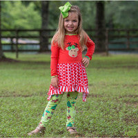 Girls Christmas Reindeer Tunic & Holiday Leggings