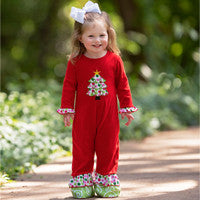 Baby Girls Polka Dot Christmas Tree Holiday Romper