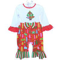 Baby Girls Red Christmas Tree Holiday Romper