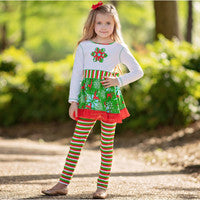 Snowflakes Dress & Striped Leggings Holiday Outfit