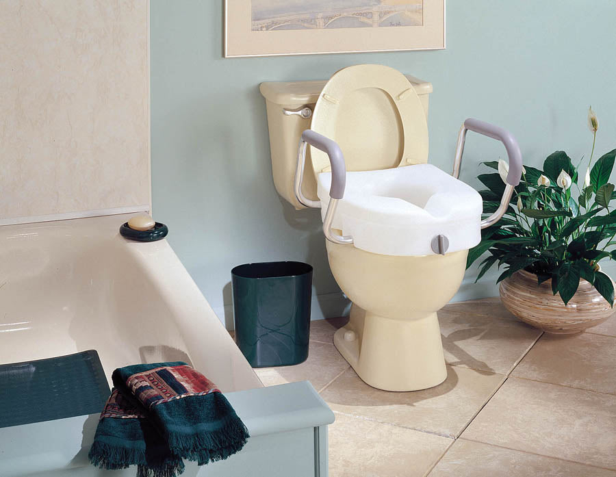E-Z Lock Raised Toilet Seat w/ Adjustable Armrests - Relaxacare