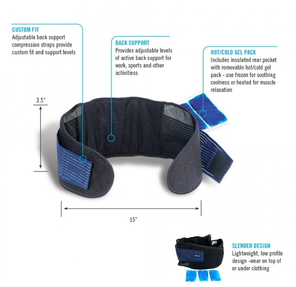 ObusForme- BACK BELT WITH HOT & COLD GEL PACK - Relaxacare