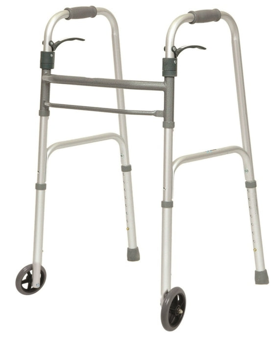 "Probasics Sure Lever Folding Walker With 5"" Wheels - Relaxacare"