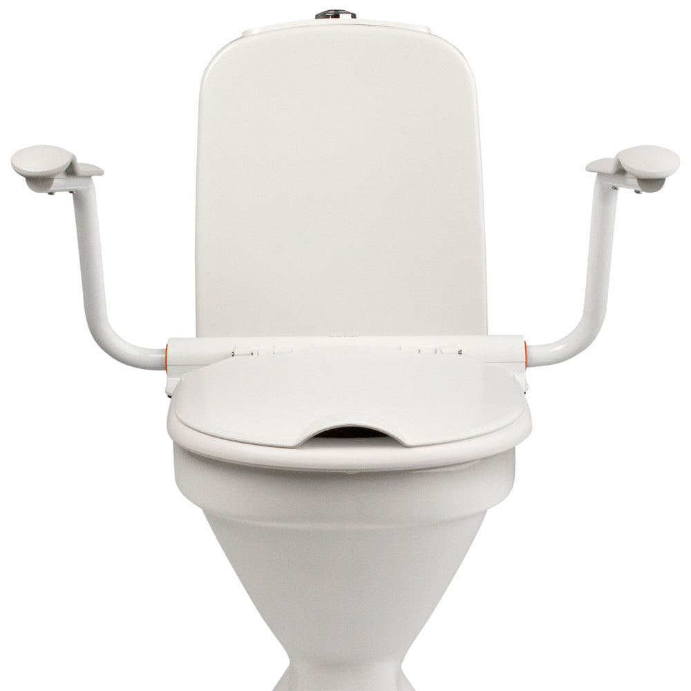 ETAC HI-LOO TOILET SEAT RAISER FIXED HEIGHT, ANGLED WITH ARM SUPPORTS