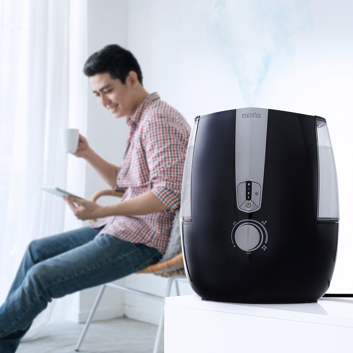 HOMEDICS Warm & Cool Mist Ultrasonic Humidifier, includes oil tray and 1 demineralization cartridge