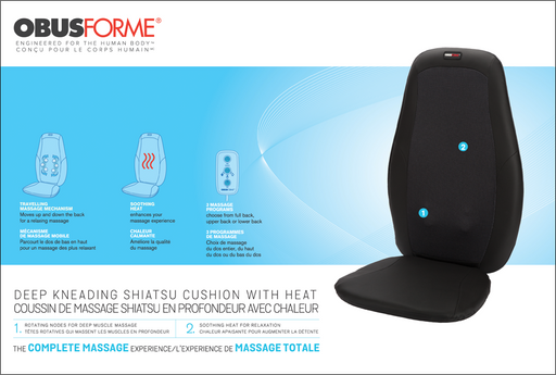ObusForme Deep Kneading Shiatsu Massage Cushion with Heat - Relaxacare