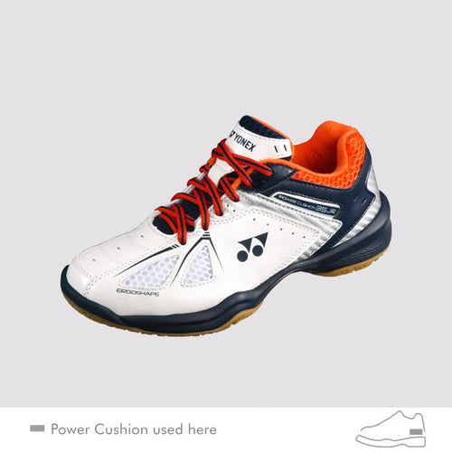 YONEX POWER CUSHION 35 JUNIOR COURT SHOES [WHITE/ORANGE]