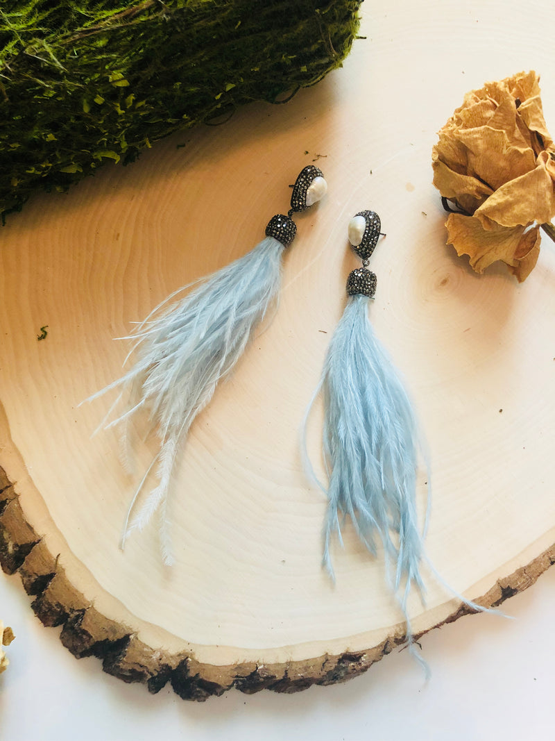 Light Blue Feather Tassels