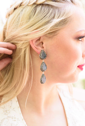 Gray Chalcedony Earrings