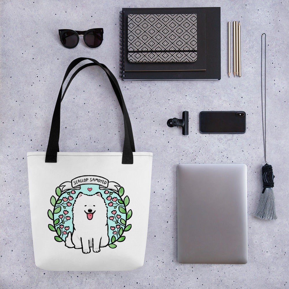 Scallop Samoyed Durable Tote bag