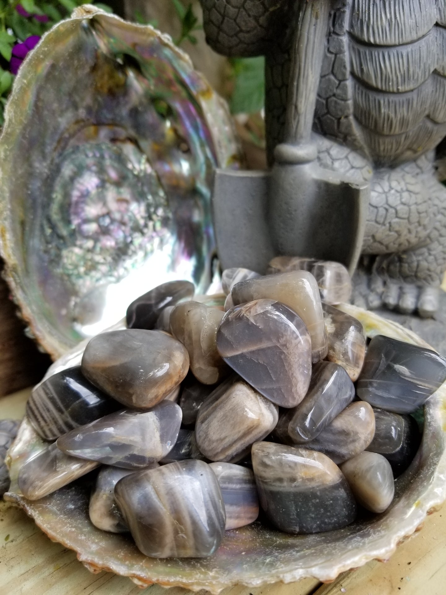 Black Moonstone Tumbled Stone