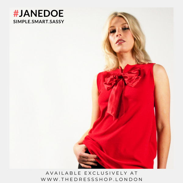Red Top With Bow - #JANEDOE
