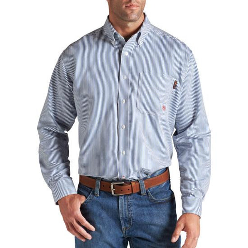 Bold Blue Stripe Flame-Resistant 'FR' Long Sleeve Work Shirts