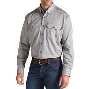 Solid Gray Flame-Resistant 'FR' Long Sleeve Work Shirts