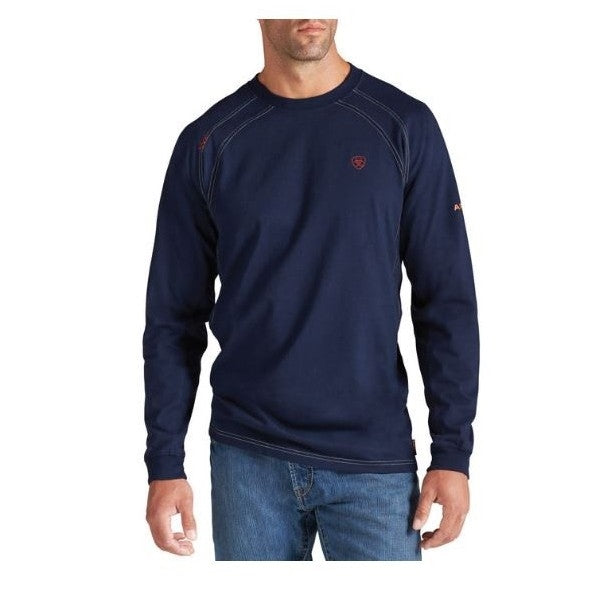 Navy Flame-Resistant 'FR' Work Crew Long Sleeve Shirts, ,FLAME RESISTANT SHIRT, FR WORK CLOTHES, FR SHIRT, FLAME RESISTANT LONG SLEEVED SHIRT, FLAME RESISTANT CLOTHES, FR LONG SLEEVE