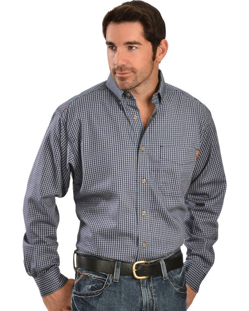 Blue Multi Plaid Flame-Resistant 'FR' Long Sleeve Work Shirts