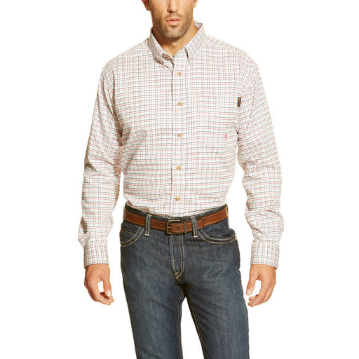White-Multi Flame-Resistant 'FR' Long Sleeve Work Shirts