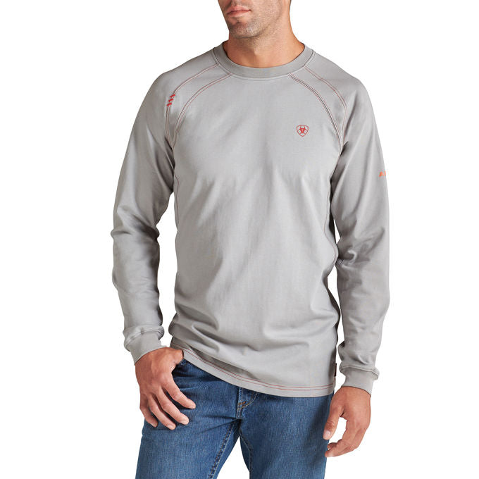 Gray Flame-Resistant 'FR' Work Crew Long Sleeve Shirts,,FLAME RESISTANT SHIRT, FR WORK CLOTHES, FR SHIRT, FLAME RESISTANT LONG SLEEVED SHIRT, FLAME RESISTANT CLOTHES, FR LONG SLEEVE