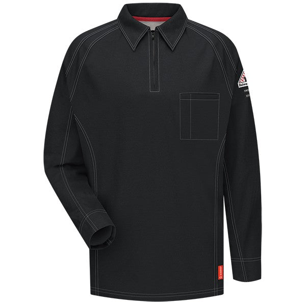 Black iQ Series® Long Sleeve Men's Polo, FLAME RESISTANT SHIRT, FR WORK CLOTHES, DR SHIRT, FLAME RESISTANT LONG SLEEVED SHIRT, FR POLO SHIRT, FLAME RESISTANT CLOTHES, FR LONG SLEEVE