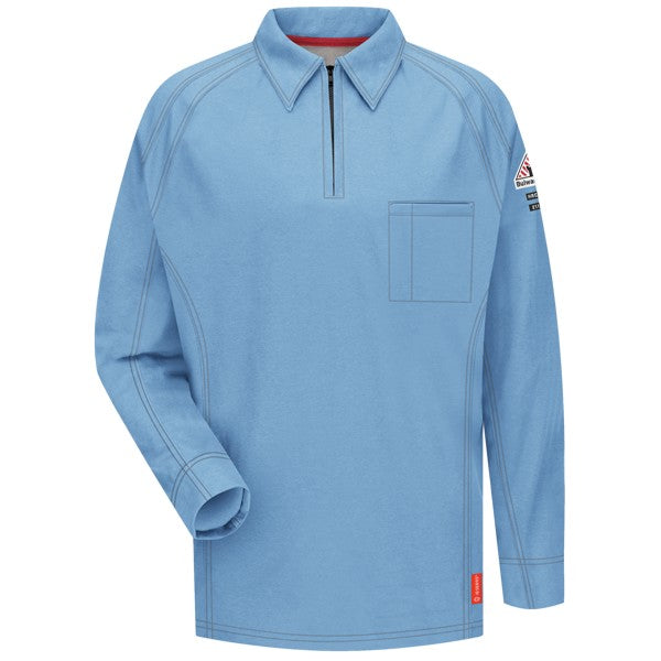 Light Blue iQ Series® Long Sleeve Men's Polo, FLAME RESISTANT SHIRT, FR WORK CLOTHES, DR SHIRT, FLAME RESISTANT LONG SLEEVED SHIRT, FR POLO SHIRT, FLAME RESISTANT CLOTHES, FR LONG SLEEVE