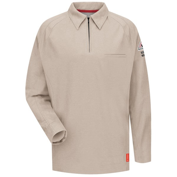 Khaki iQ Series® Long Sleeve Men's Pol, FLAME RESISTANT SHIRT, FR WORK CLOTHES, DR SHIRT, FLAME RESISTANT LONG SLEEVED SHIRT, FR POLO SHIRT, FLAME RESISTANT CLOTHES, FR LONG SLEEVE