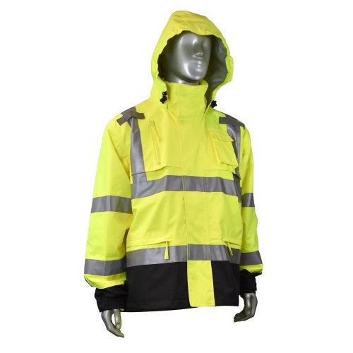 RADIANS RW32-3Z1Y HEAVY DUTY RIP STOP WATERPROOF RAIN JACKET