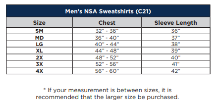FR UltraSoft® Hooded/Zipper Fleece Sweatshirt, fr hoodie, fr sweatshirt, fr outerwear -NSA Sizing Chart