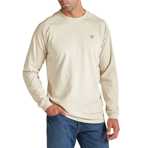 Sand/Khaki Flame-Resistant 'FR' Work Crew Long Sleeve Shirts