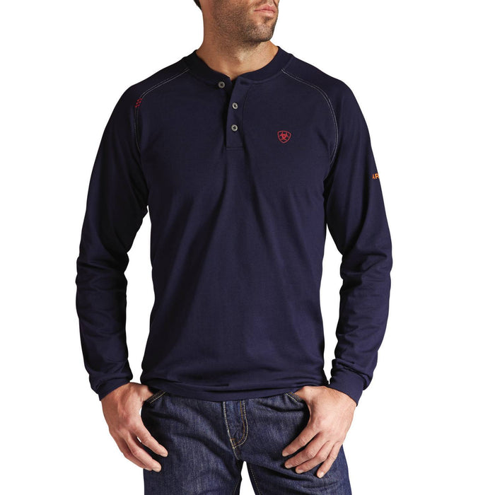Navy Flame-Resistant 'FR' Work Long Sleeve Henleys, henley, henley long sleeve, flame resistant shirt, fr work clothes, fr shirt, flame resistant long sleeve shirt, flame resistant clothes, fr long sleeve, fr henley