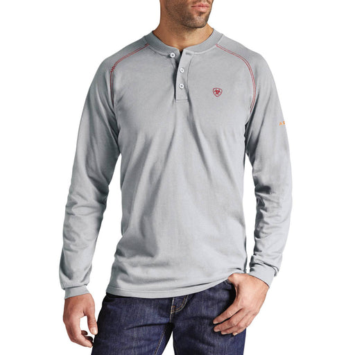 Gray Flame-Resistant 'FR' Work Long Sleeve Henleys, henley, henley long sleeve, flame resistant shirt, fr work clothes, fr shirt, flame resistant long sleeve shirt, flame resistant clothes, fr long sleeve, fr henley