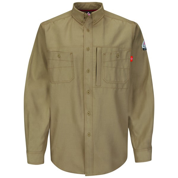 Khaki iQ Series® Endurance Uniform Shirt,FLAME RESISTANT SHIRT, FR WORK CLOTHES, DR SHIRT, FLAME RESISTANT LONG SLEEVED SHIRT, FLAME RESISTANT CLOTHES, FR LONG SLEEVE